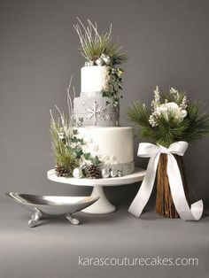 Featured in Cake Central Magazine Volume 3, Issue 11 A Winter Silver Wedding theme Click on the image to see the detail pictures!  http://www.karascouturecakes.com