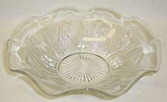 Jeannette Crystal Vintage Iris and Herringbone Depression Glass 9 1/2 Inch Ruffled Bowl