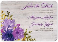 Perfectly Passionate - Signature White Save the Date Cards in Deep Sea Green or Grape | Coloring Cricket