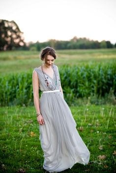 G E O R G I A hand draped silk chiffon gown with accented waist.  lovejune