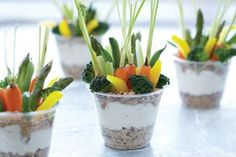 These are veggies- but this could also be done with fruit, granola and yogurt. Perfect for summer parties!