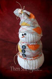 Muñeco de nieve con calcetin