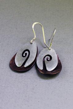 Sterling and Copper Fiddlehead Earrings