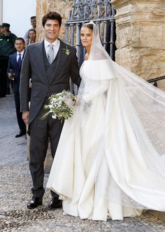 Lady Charlotte Wellesley stunned in a voluminous gown during her Spanish nuptials to Alejandro Santo Domingo on May 28 — see her gorgeous royal wedding dress here!