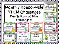 Bundle Pack Of 9 Monthly School-wide Stem Challenges! Set #1