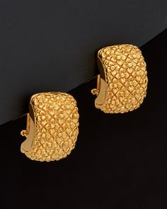 Meshmerise French Clip-On Earrings Gold Ring Designs, Gold Bangles Design, Gold Earrings Designs, Gold Jewellery Design, Plain Gold Bangles, Gold Jhumka Earrings, Gold Necklace, Gold Jewelry Simple, French Clip