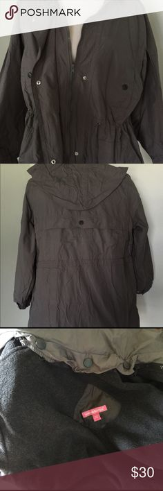 """Woman Within Jacket Coat Size Medium Color Slate Comfortable versatile coat jacket with removable fleece and weather resistant. Adjustable drawstring at hood, waist and hem. 32"""" length hangs at upper thigh. Easy button on and off hood. Hidden snap and zipper front with four pockets and adjustable cuffs at the sleeves. Anti-pill fleece is removable. Machine washable. Size Medium 14W - 16W. Color may vary slightly from camera it is a deep slate. Woman Within Jackets & Coats"""
