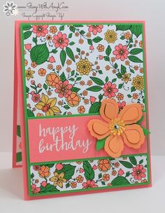I used a little of the Stampin' Up! Sale-a-bration exclusive Inside the Lines DSP along with the Milestone Moments stamp set to create a birthday card to share with you today. The spring colo…