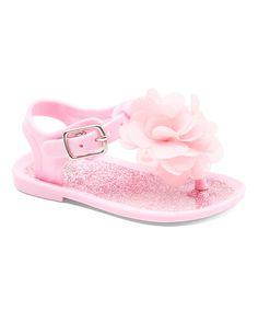 Another great find on #zulily! Light Pink Glitter Flower Jelly Sandal #zulilyfinds