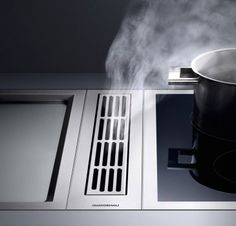 Gaggenau VL414110 5 Inch Vertical Downdraft Hood with Optional Blowers, 3 Fan Levels, Metal Grease Filter and Convertible To Recirculation - Requires Control Knob