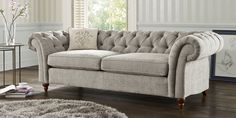 Buy Gosford Buttoned Large Sofa (3 Seats) Sumptuous Velour Mid Silver LowTurned-Dark from the Next UK online shop