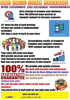 For a limited time we offer the best package to promote your business in the world. Not only promotion. It is not just advertising. It is not just SEO. Promotion, advertising and SEO, all in one package at a great quality. Valid   for any business, in any niche, wherever in the world. Our services cover every corner of the globe. Nobody can do better than us. 100% Guaranteed.