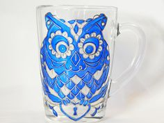Blue Owl Coffee Mug Hand Painted Colorful di StainedGlassHandmade