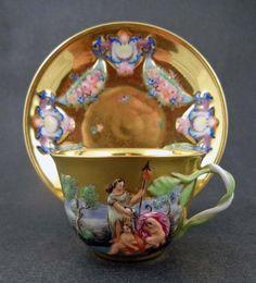 Šálek na čaj * zlatý porcelán s malovaným obrázkem