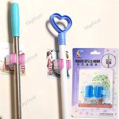 Magic Green Mop Hook Mop Clip Adhesive Mop Rack Bathroom Items- Assorted Color HHI-320593