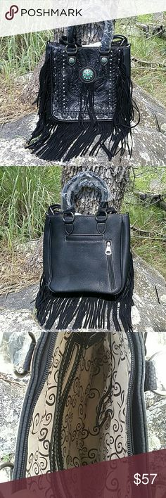 """🆕 LAST ONE!! Fringe Concealed Carry Purse Western inspired fringe, concho, turquoise and stud accents. Leather & man-made material. 11"""" tall, 10.5"""" across, 3.5"""" deep, 50"""" adjustable shoulder strap, 14"""" carry handles.  Back has 1 outside open pocket, 1 concealed carry zip pocket. Inside features 1 zip pocket and 2 open pockets. Also available in Brown in another listing.  Price Firm unless bundled! Cleto Bags Shoulder Bags"""