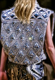 Balmain, model, runway, couture, haute couture, fashion, high fashion, fashion week, Paris Fashion Week, checkers, armor, silver, diamonds, crystals, gemstones, beading, sparkles, mirrors, sequins, details, embroidery, vest, grunge, masculine, metallic, scifi, couturier, Fall 2013,