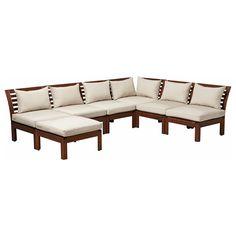 IKEA - ÄPPLARÖ / HÅLLÖ, Canapé angle 3+3 av tabouret, ext, teinté brun/beige, , En accolant différents sièges vous créez un canapé dont la…
