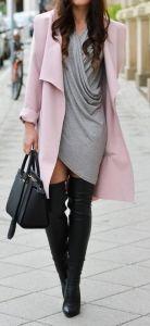 #fall #fashion / pink coat + gray dress