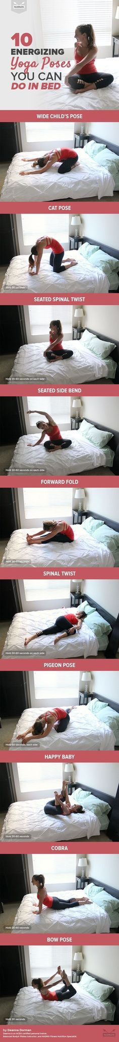 You don't even have to roll out of bed to do these energizing yoga poses! ♥️ Save so you can get started on these later!