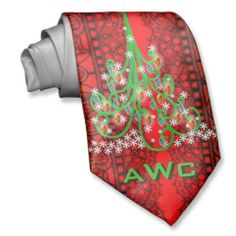 "Christmas Trees Over Black Lace on Red (Monogram) Tie - A great gift to add to your mate's ""Ugly Christmas Tie"" collection - and it's monogrammed to boot (so it can't be re-gifted!) On a background of black lace against cherry red, 6 swirly kelly green christmas trees form a column with his/her 3-initial monogram repeated between. Only from www.zazzle.com/icondoit/christmas+gifts?rf=238155573613991097&tc=pnt #christmasties #xmasties #uglychristmasties"