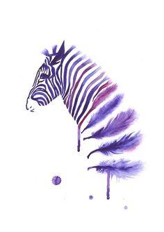 Purple Zebra Art Print A3, Large Wall Art Home Decor, Horse Art, Contemporary Modern Poster, Zebra Feather Watercolor. $25.00, via Etsy.