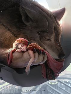 Red Riding Hood and the Big Bad Wolf by Nell A Prez Illustration Fantasy Wolf, Dark Fantasy Art, Fantasy Artwork, Werewolf Art, Wolf Love, Wolf Pictures, Big Bad Wolf, Mythical Creatures, Character Art