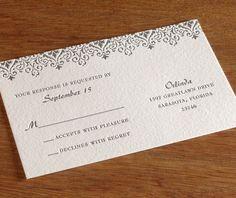 victorian letterpress wedding invitation