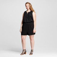 Women's Plus Size Sleeveless Lace Front Romper - 3Hearts (Juniors') ** Check out this great product.