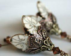 Flower earrings, dangle, ivory, crystal, romantic, gift for her, Christmas gift