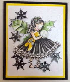 Penny Black Fairy Holly, coloured with my Derwent Inktense, tried black folds on her dress! Derwent Inktense, Black Fairy, Penny Black, Copics, Card Making, Presents, Paper Crafts, Crayons, Happy