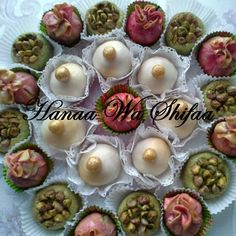 pistachio nests , Almonds pink pouches, and white Mkhabaz balls