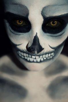 Bones by LaurenGibson on DeviantArt Halloween Skeletons, Halloween Skull, Halloween Makeup, Halloween Costumes, Ghost Makeup, Creepy Makeup, Cosplay Makeup, Costume Makeup, Sugar Skull Makeup