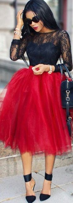 Red Tulle Skirt w Black Lace Blouse & Feminine Chic Ankle Strap Stiletto's Make This Look Work! -ShazB