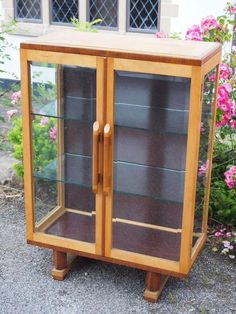 Stunning Art Deco Glass Front Side Display Cabinet With Bamboo Effect Handles