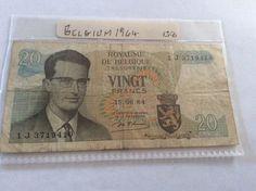 Belgium 20 Frank Banknote June 15 1964 Serial Number 1 J 3719410
