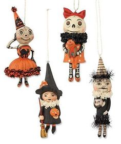 Happy Halloween set of 4 Ornaments Debra Schoch Bethany Lowe Witch Skeletons