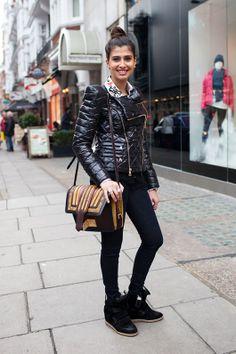 Marant kicks and a killer handbag. No wonder why she's smiling. #themarantphiles