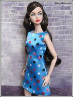 Outfit - Blue Polka Dots dress fits Poppy Parker, FR Nu Face Eden, Lillith doll