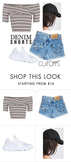 """ALICIA"" by thefashionguilty on Polyvore featuring Topshop, NIKE, jeanshorts, denimshorts and cutoffs"