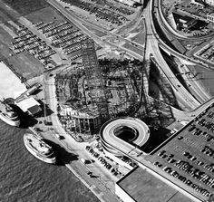 An aerial view of the construction of Joe Louis Arena in 1979.