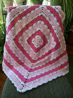 Precious Square Baby Blanket. free pattern by Mary Jane Protus. Pic from Ravelry Project Gallery. #crochet #afghan #throw #pillow
