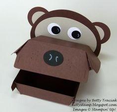 Hamburger Box Critters- Bear by kittystamp - Cards and Paper Crafts at Splitcoaststampers Jungle Theme Crafts, Hamburger Box, Fry Box, Shots Ideas, Creation Crafts, Berry Baskets, Scrapbook Blog, Fun Snacks For Kids, Keepsake Boxes