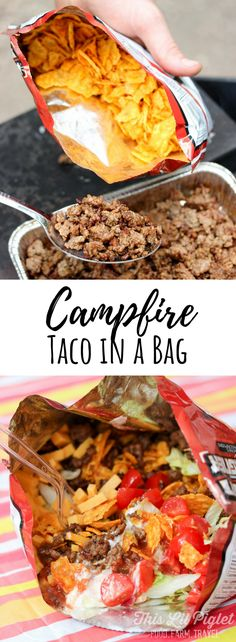 Camping Essen: Campfire taco in a pocket - this small .-Camping Essen: Lagerfeuer Taco in einer Tasche – Dieses kleine Ferkel – Zelten Camping food: campfire taco in a pocket this little piglet - Camping Hacks, Camping Survival, Tent Camping, Outdoor Camping, Camping Cooking, Family Camping, Easy Camping Food, Camping Dishes, Camping Foods