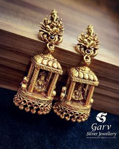 Temple Design Jhumkas Online by Garv Silver Jewellery ~ South India Jewels