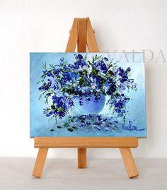 Blue Flowers  3x4 original oil painting gift item by valdasfineart