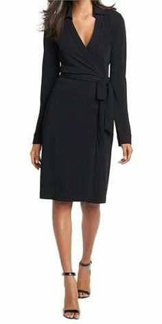 DVF black wrap dress. Gorgeous