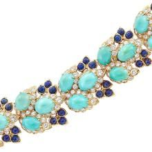 Gold, Turquoise, Diamond and Lapis Bracelet
