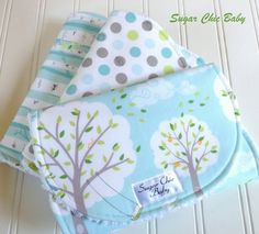 Gender Neutral Burp Cloths  -  Set of 3 Chenille   - Backyard Baby Windy Day, Lotsa Dots