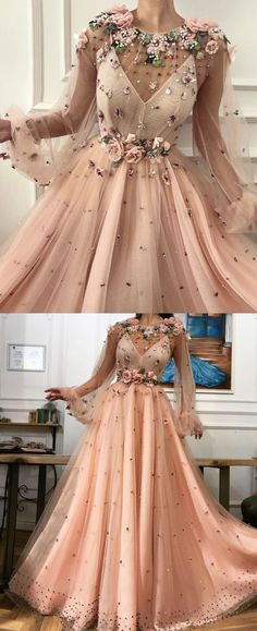 Pink Flower Appliques Prom Dress,Long Sleeves Long Party Dress,Sexy Prom Dress S. - Pink Flower Appliques Prom Dress,Long Sleeves Long Party Dress,Sexy Prom Dress Source by FrederickLReza - Dresses Elegant, Cute Prom Dresses, Prom Outfits, Prom Dresses Long With Sleeves, Plus Size Prom Dresses, Modest Dresses, Simple Dresses, Sexy Dresses, Evening Dresses